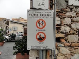 Street sign in Taormina, Italy