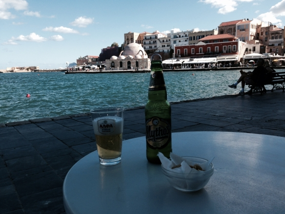 Relaxing by the Venetian Port of Chania, Crete