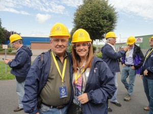 Vicki Freed and Terry Denton about to enter the Meyer Werft shipyard